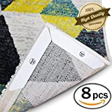 Rug Grippers – 8 Pcs Anti Curling Rug Gripper Keeps Your Rug in Place and Flat, Reusable Premium Carpet Tape for Kitchen & Bathroom (Small(5.1''X1''), White)