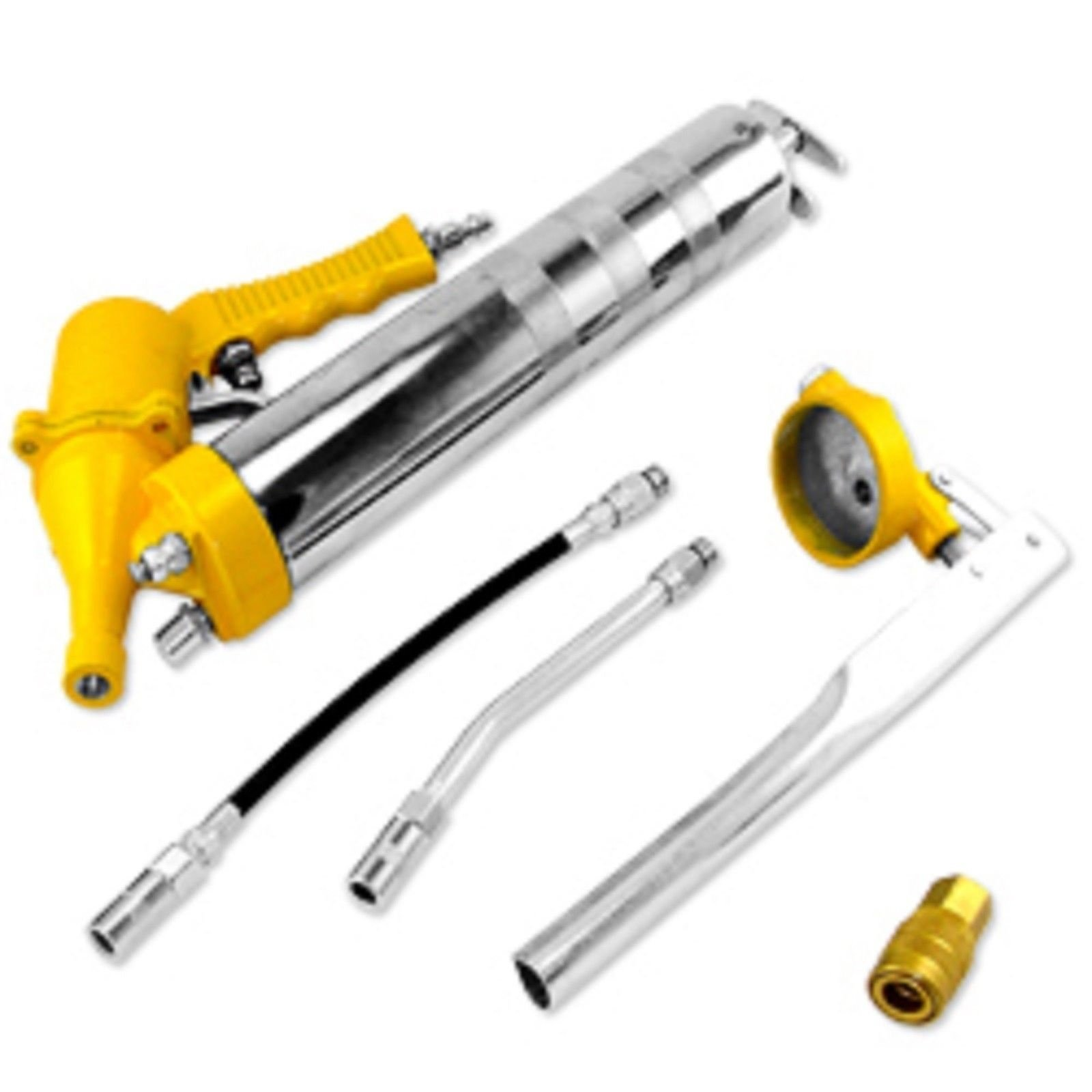 GHP 1200-6000PSI One-Hand Pistol Grip Air Pneumatic Grease Gun Set by Globe House Products