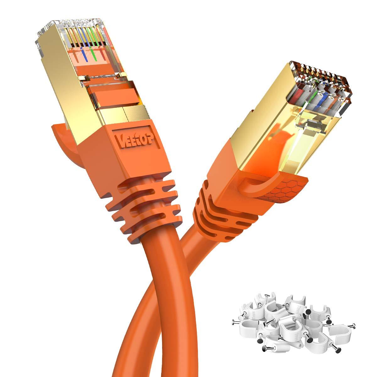 Veetop C/âble Ethernet LAN Cat 8 RJ45 C/âble R/éseau SFTP Vitesse 40 Gbps // 2000Mhz 0,5m Blanc
