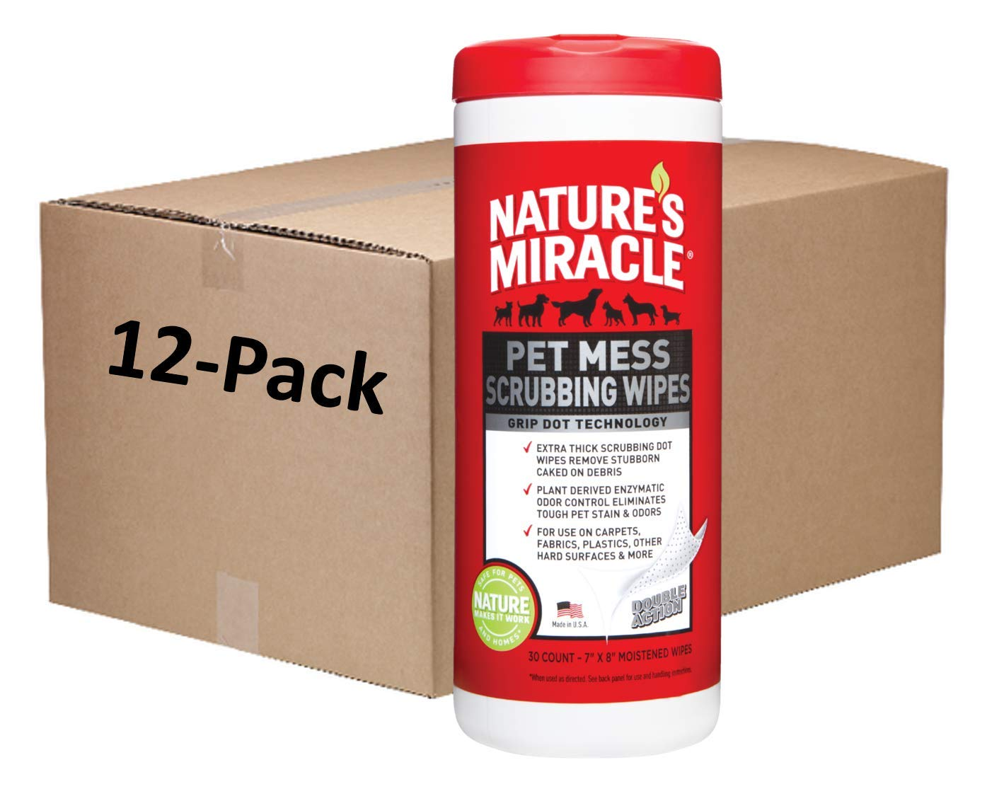 Nature's Miracle Pet Mess Scrubbing Wipes 30 Count, Removes Stubborn, Caked-On Debris (Pack of 12) by Nature's Miracle