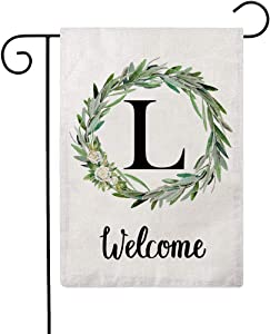 ULOVE LOVE YOURSELF Welcome Decorative Garden Flags with Letter L/Olive Wreath Double Sided House Yard Patio Outdoor Garden Flags Small Garden Flag 12.5×18 Inch