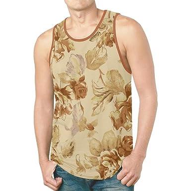 5915c44763d1a0 TPTEM001 Floral Design Tank Top Casual Shirts Apparel Mens Sleeveless Vest  Sportswear (L (Bust