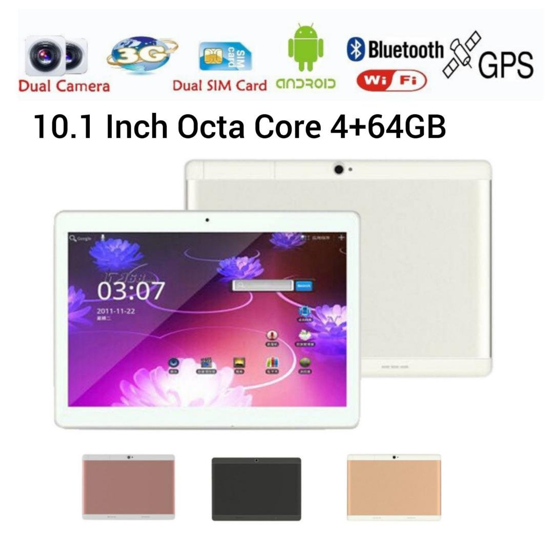 10.1'' Tablet PC Mic WIFI Android 6.0 Octa Core 4+64G 10.1 Inch 2 SIM 4G HD (10.1'', Sliver)