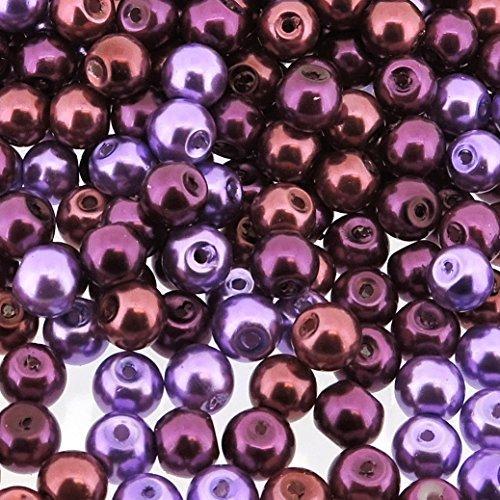 Beads Direct USA's Small Round Glass Pearls 6mm Beads Mix, 200pcs - Purple Passion Mix (mix of purples)
