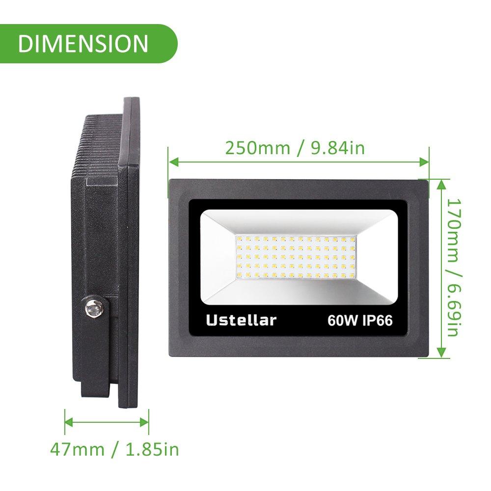Ustellar 2 Pack 60W LED Flood Light, IP66 Waterproof, 4800lm, 300W Halogen Bulb Equivalent Outdoor Super Bright Security Lights, 5000K Daylight White, Floodlight Landscape Wall Lights by Ustellar (Image #5)