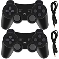 Molgegk 2Packs Wireless Bluetooth Controller Compatible for PS3 Playstation 3 Double Shock - Bundled with USB Charge Cord (BLACK1 and BLACK1)