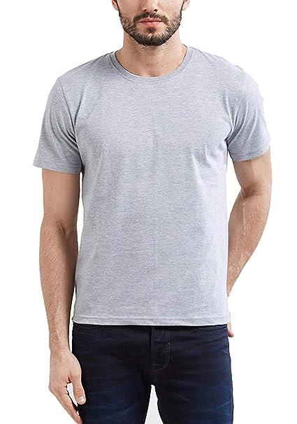 cc6b82d77 Step Shoes Men's Grey Cotton Round Neck Half Sleeve T-Shirts(Plain Tshirt  for