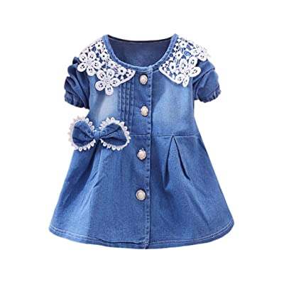Remiel Store Toddler Baby Girls Bowknot Lace Long Sleeve Princess Denim Dress
