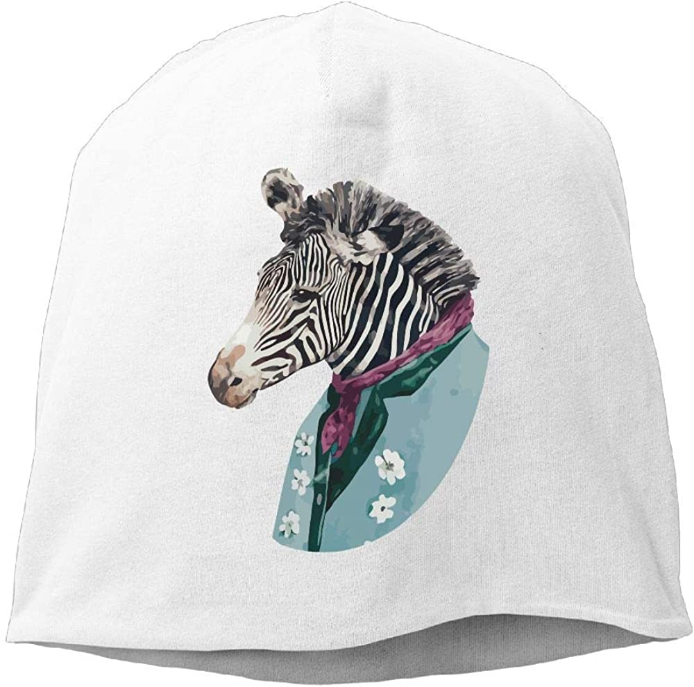 Janeither Headscarf Zebra with Handsome Suit Hip-Hop Knitted Hat for Mens Womens Fashion Beanie Cap