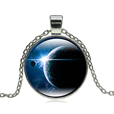 d5c9fedc1a4f1b FrequencyOfLife Nebula Pendant Necklace - Galaxy Space Exploration Glass  Cabochon Pendant Silver Choker Chain Necklace Gift Women Girls  (Color/Design May ...