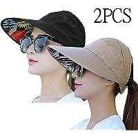 bccb4fd968828 Sun Visor Hats for Women Large Wide Brim UV Protection Summer Beach  Packable Cap