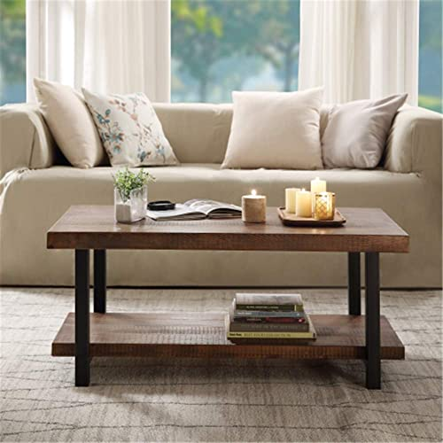 Rustic Nature Coffee Table, Aplos Large Retro Wood Slabs Coffee Table with Metal Legs and Storage Shelf for Living Room, Easy Assembly Rectangle
