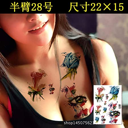 tzxdbh 5Pcs-Tatuaje Impermeable Pegatina niña Flor Brazo Frente ...