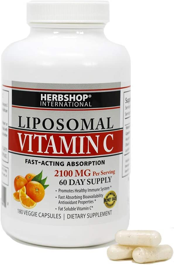 Liposomal Vitamin C - 2100mg, 180 Veggie Capsules Fast Absorption, Fat Soluble Antioxidant Immune Support, Collagen Boost - Non-GMO (60 to 90 Day Supply Pills) Essential Health Supplement Herb Shop