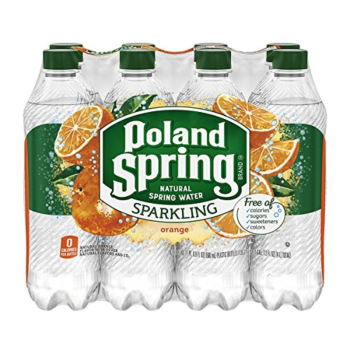 POLAND SPRING Brand Sparkling Natural Spring Water, Orange 16.9-ounce plastic bottles (Pack of 8)