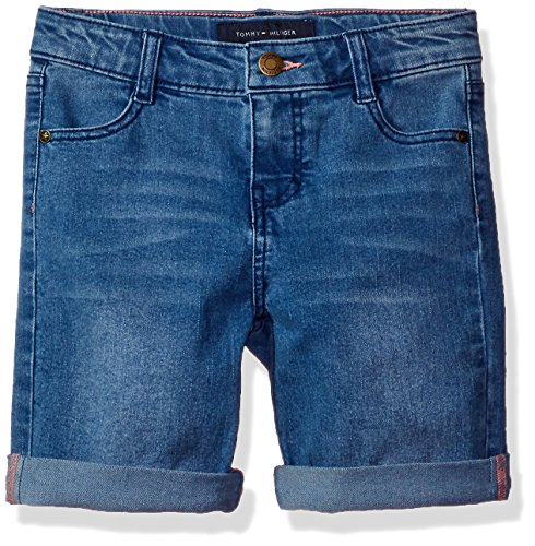 Tommy Hilfiger Big Girls' Denim Bermuda Shorts, Medium Blue,