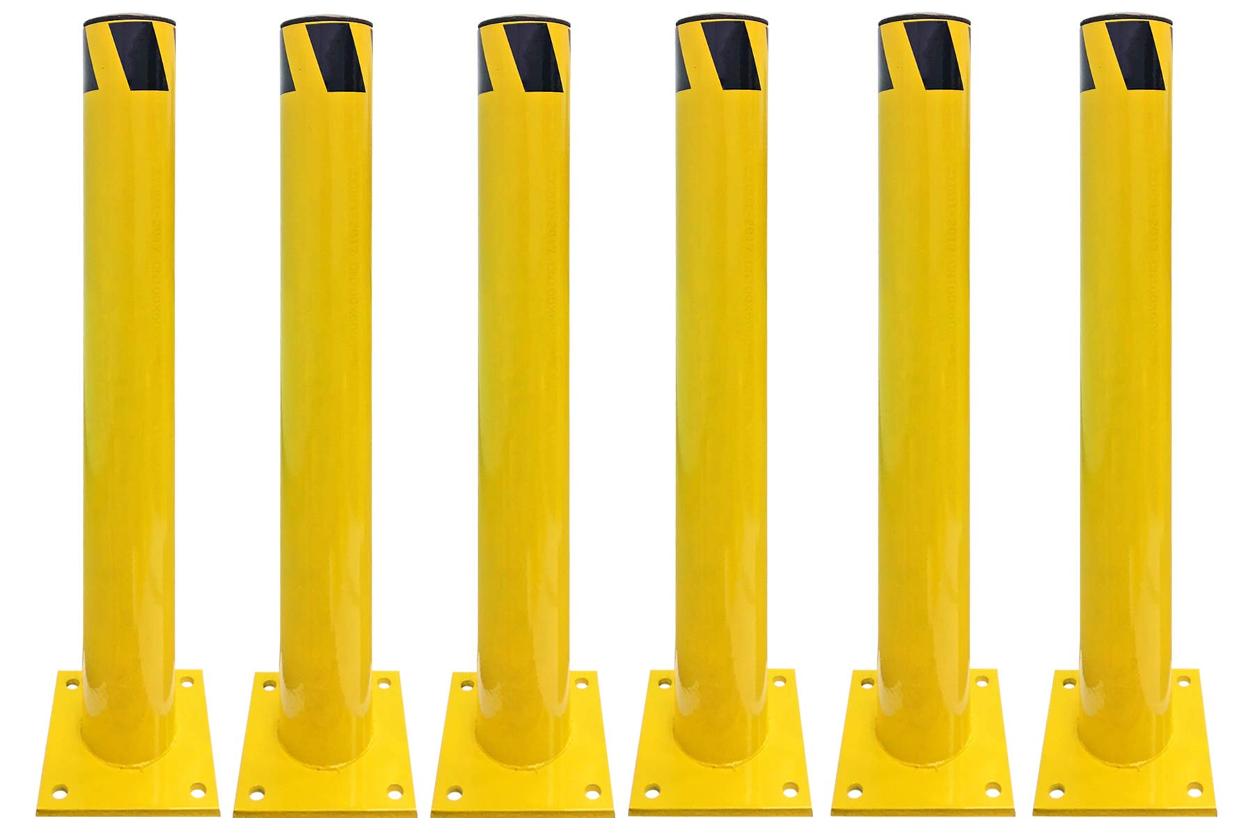 Electriduct 3 Feet Steel Pipe Safety Bollard Post Yellow/Black Stripe - Parking Lot Traffic Barrier (36'' Height - 4.5'' OD) - Pack of 6