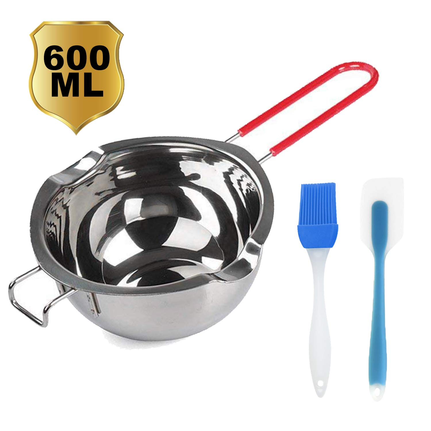 3Pack Stainless Steel Double Boiler Pot with Heat Resistant Handle for Melting Chocolate, Butter, Cheese, Caramel and Candy - 18/8 Steel Melting Pot, 2 Cup Capacity with Silicone Scraper and brush by Uonoceh