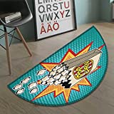 Movie Theater bath mats for floors Halftone Background with Retro Style Colorful Popcorn Design Cinema Snacks door mat indoors Bathroom Mats Half Moon Non Slip Multicolor size:23.7''x15.8''