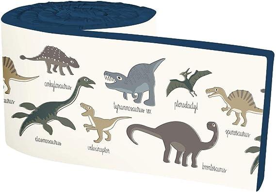 Sebra - Protector de Cuna con diseño de Dinosaurios, 100% algodón con Relleno de Espuma sintética: Amazon.es: Hogar