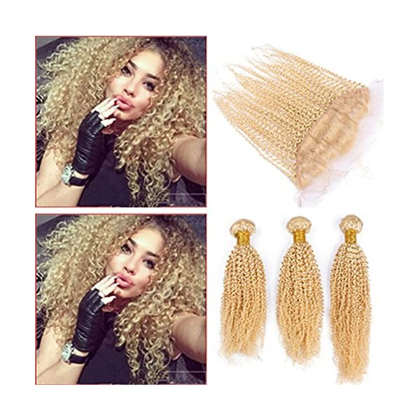 Tony Beauty Hair Pure Color 613 Kinky Curly 13x4 Full Lace Frontal