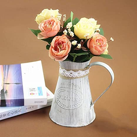2x Vintage Iron Buckets Shabby Chic Flower Pots Vase Jug for Home Garden