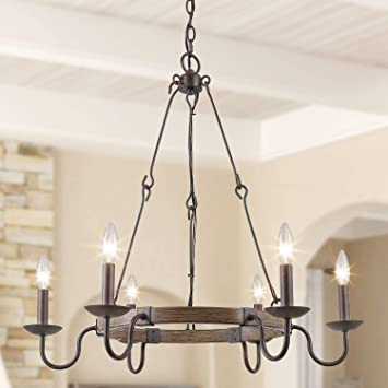 Log Barn Rustic Farmhouse Chandelier Dining Room Lighting Fixtures Hanging Metal Finish Wagon Wheel Pendant With French Country Style Candles For Kitchen Islands Amazon Com
