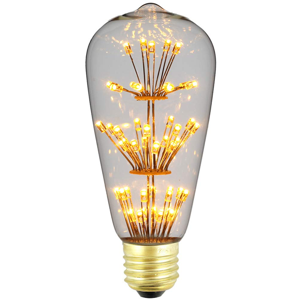 Silver, G95 LightingDesigner Edison Classic 3D Bulb Firework Led Light Source AC85-240V E27 Decorative Light Bulb