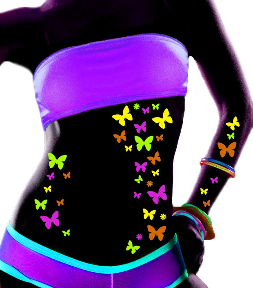 Sasswear Blacklight Butterfly Body Stickers - Neon - 40/pk