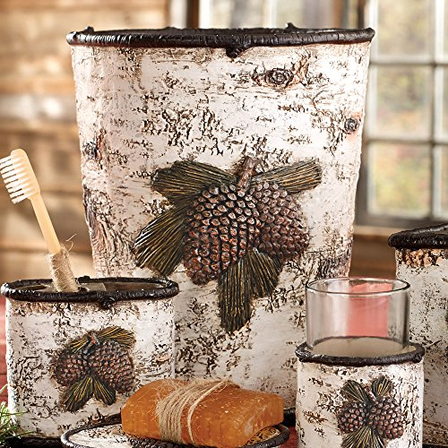 Black Forest Decor Pinecone & Birch Waste Basket -