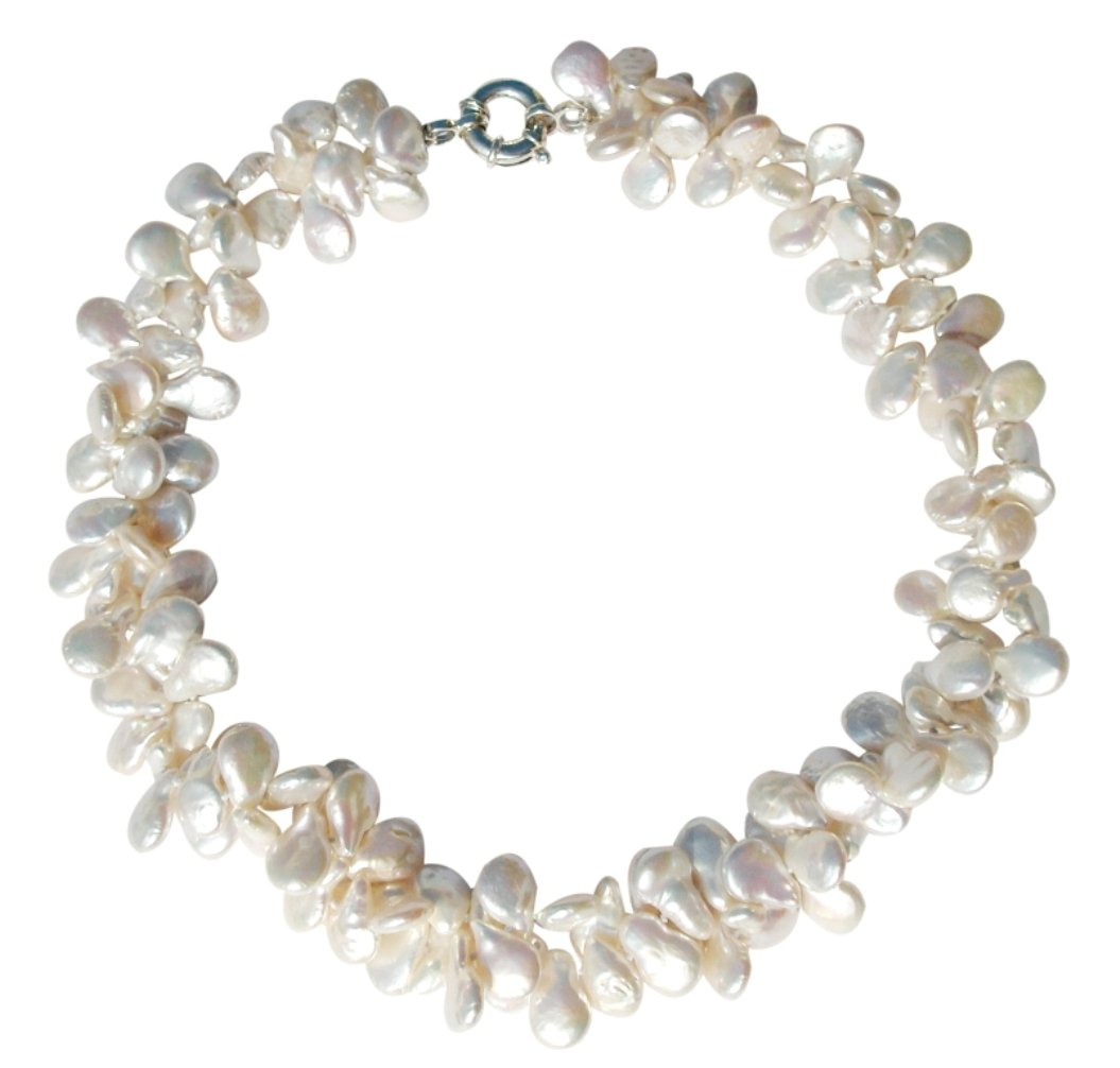 White Cultured Pearl Two Strand Necklace with A Silver Clasp