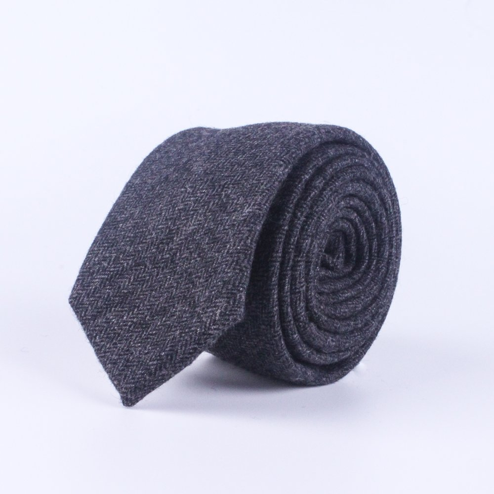 Herringbone Tie Wedding Necktie Groomsmen Necktie Wool Skinny Tie Mens Tie