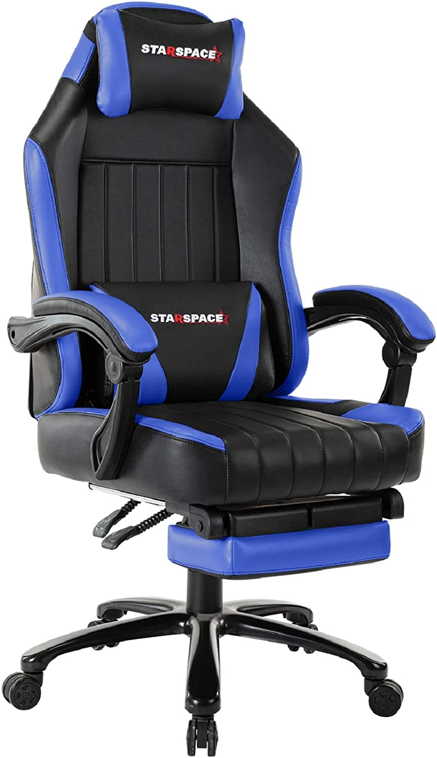 STARSPACE Big & Tall 350lb Gaming Chair Massage- Retractable Footrest Metal Base High Back Reclining Racing Executive Computer Desk Office Chair Adjustable Back Angle (Blue)