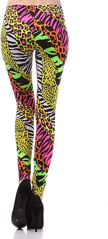 NeonNation Pantaloni Leggings anni 80 in versione ghepardo ghepardo per donna