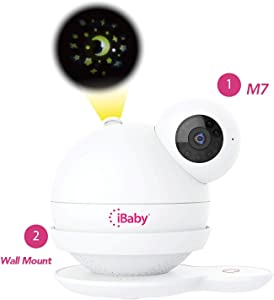iBaby Smart WiFi Baby Monitor M7 Care kit (M7 + Wall Mount), 1080P Full HD Camera, Temperature and Humidity Sensors, Motion and Cry Alerts, Moonlight Projector, with Smartphone App for Android and iOS