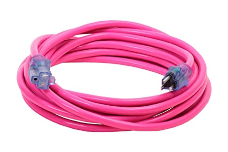 25-Foot 14/3 Pink Outdoor Extension Cord with Continuous Ground ...