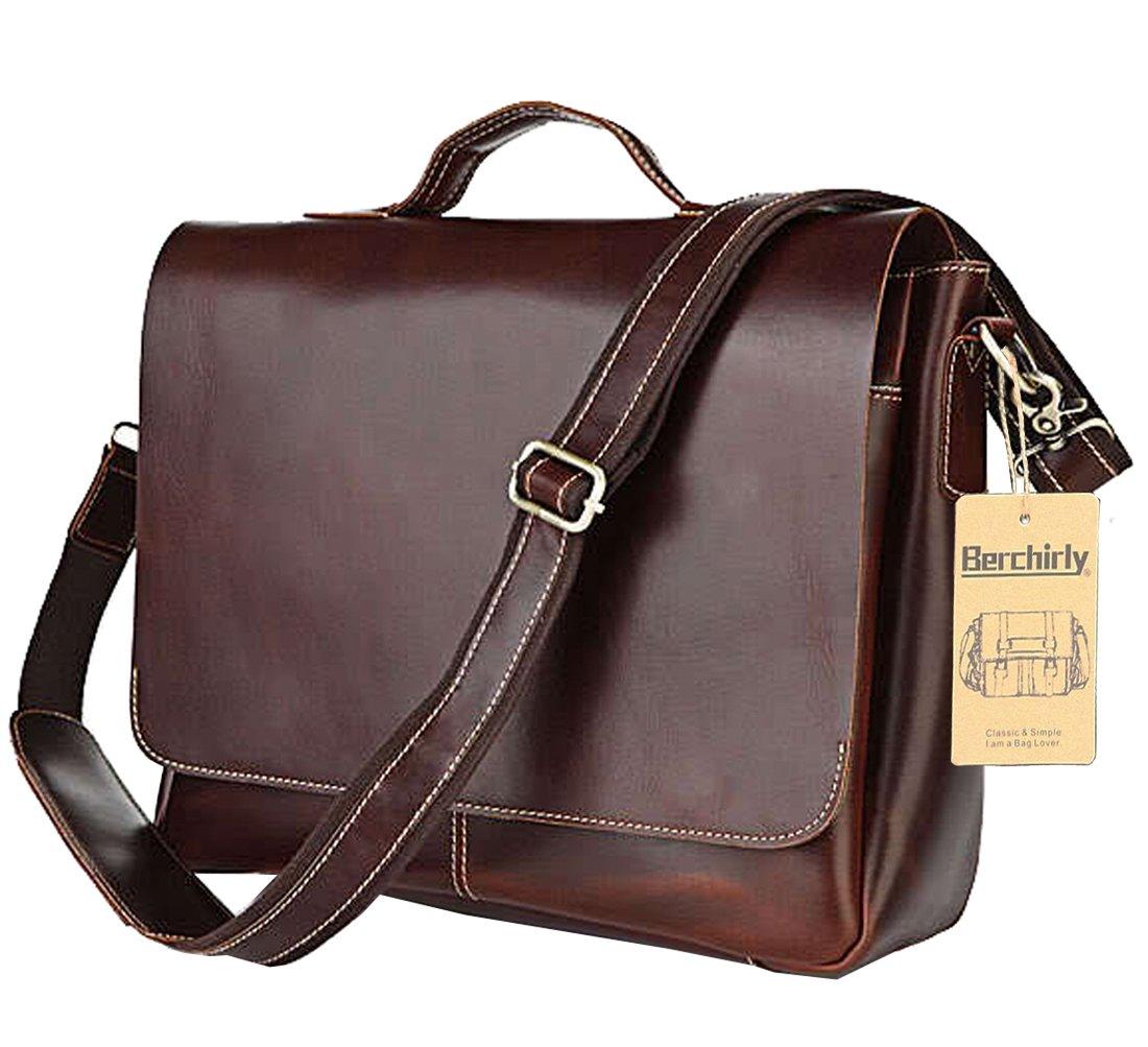 Berchirly Vintage Men's Full Grain Leather Travel Briefcase Messenger Bag Laptop Case