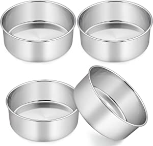 TeamFar Cake Pans, 8'' x 3'' Round Cake Pan Stainless Steel, Layer Wedding Birthday Baking Pans, Fit Pots / Oven / Pressure Cooker, Healthy & Durable, 3 Inch Deep & One Piece, Dishwasher Safe-4 PCS