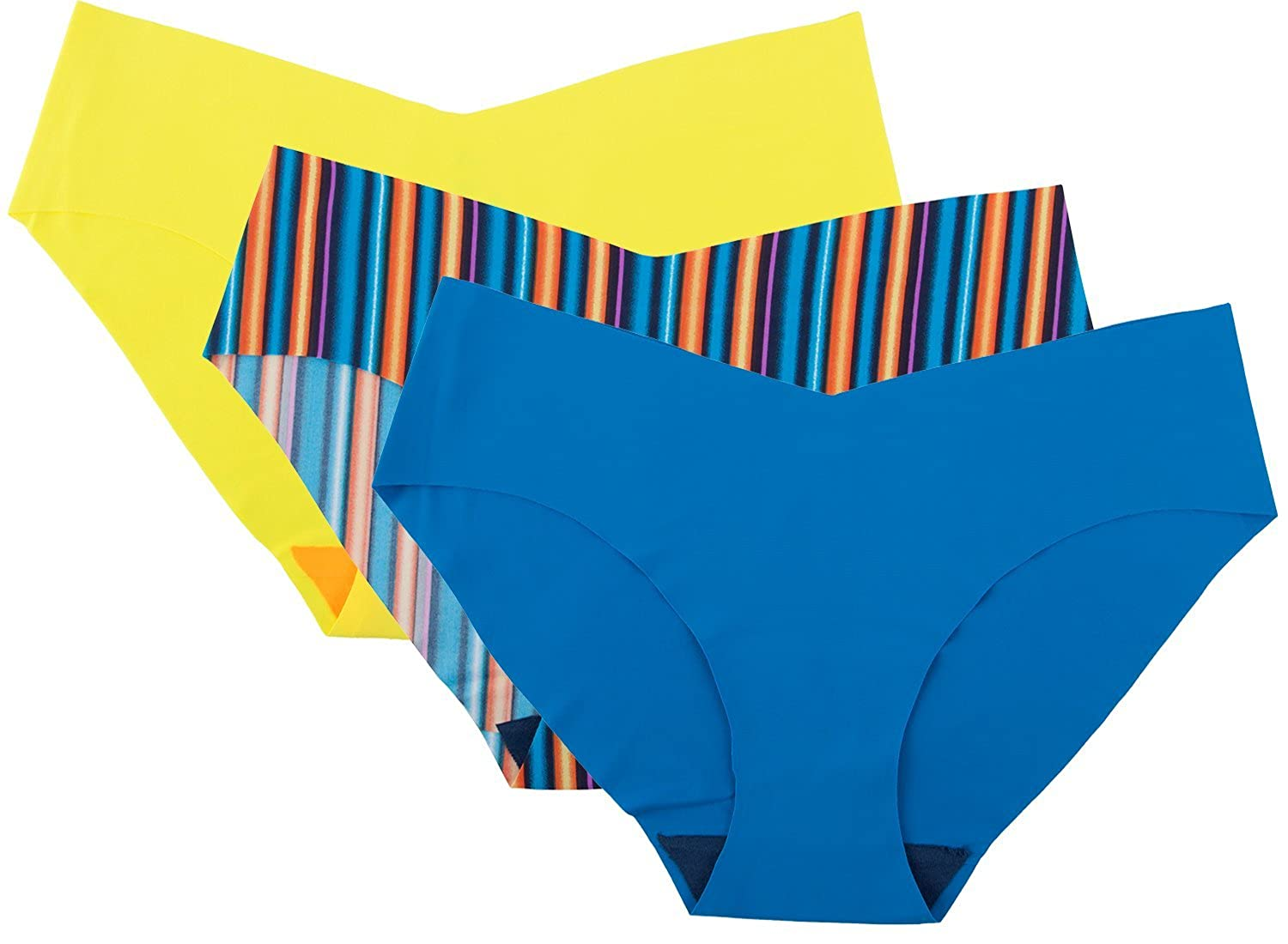 9b405cccc50 Each pack includes 3 bikini panties assorted printed and solid colors.  Invisible laser cut edges provide a flawless finish with no show panty lines