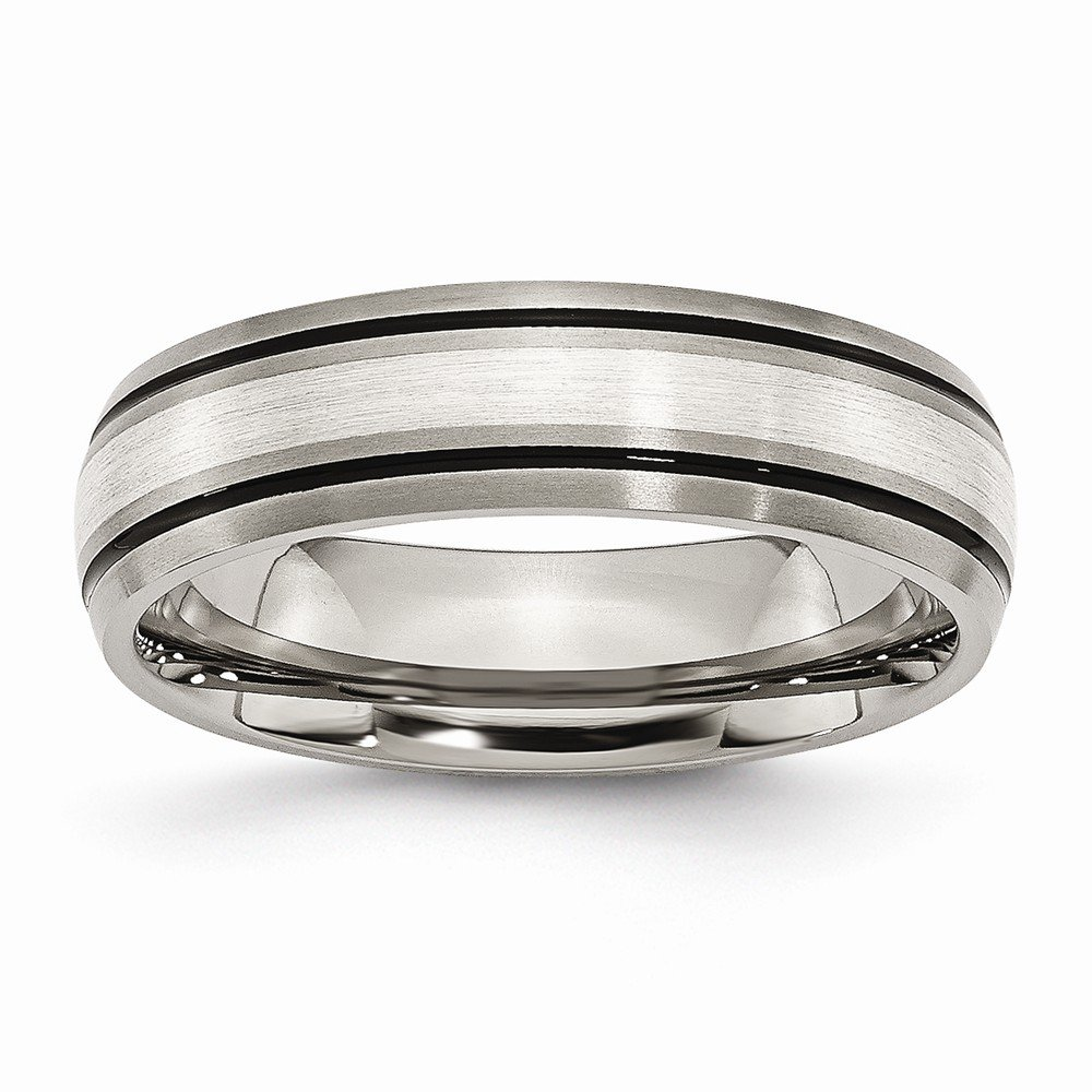Antiqued Brushed Sterling Silver 6 mm 6 mm Grooved Inlay 6mm Brushed//Band Titanium Silver Two-Tone Wedding Band Ring Polished