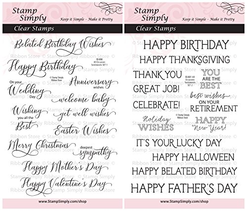 (Stamp Simply Clear Stamps All Occasion Sentiments Birthday, Retirement, Holiday and More (2-Pack) 4x6 Inch Sheets - 25 Pieces)
