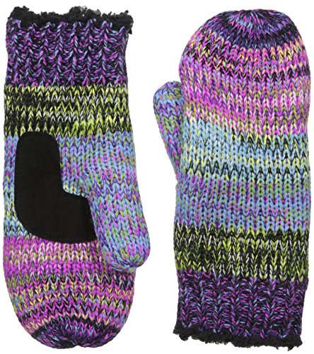 Isotoner Women's Chunky Cable Knit SherpaSoft Mittens,  Black Laser,  One Size