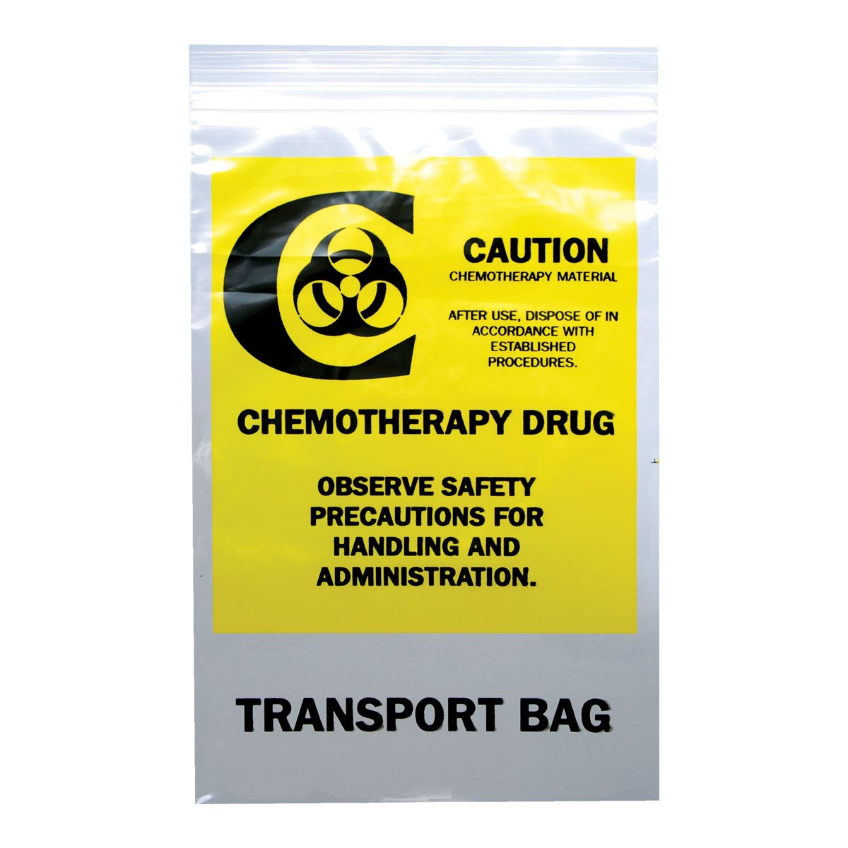 PDC Healthcare MBG001 Clear/Yellow Plastic Hospital Bag, ''Chemo Transfer'', Zip Lock, 2 mil, 6'' x 9'' (Pack of 1000)