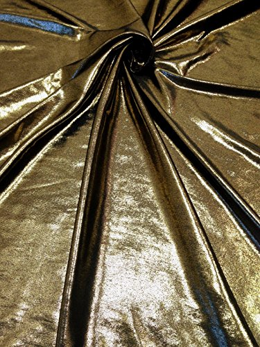 on Black Stretch Lightweight Polyester Slinky Spandex Fabric by the Yard (Dark Gold) (Foil Slinky)