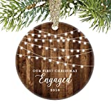 Engagement Keepsake Gifts 2018, First Christmas Engaged Ornament, Rustic Newly Engaged Couple 1st Xmas Farmhouse Collectible Woodgrain Present 3