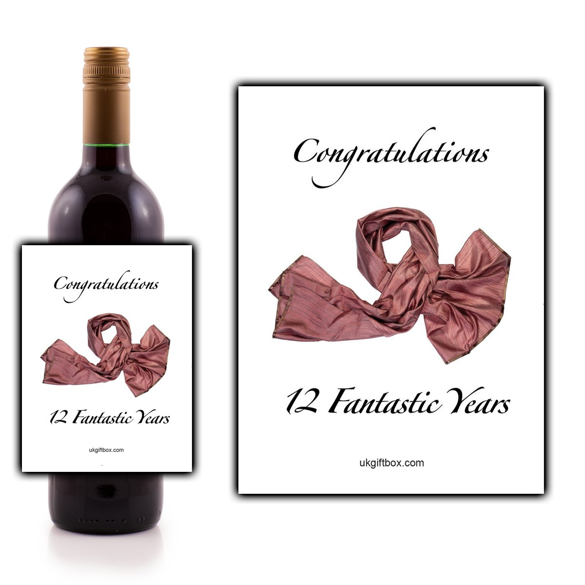 Congratulations 12 fantastic years Wine Bottle Label - perfect for adding that special touch to a 12th anniversary present ukgiftbox
