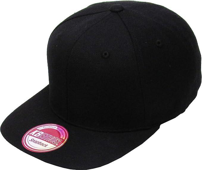4f71d03de92 Classic Snapback Hat Blank Cap - Wool Blend Flat Visor (Adjustable ...