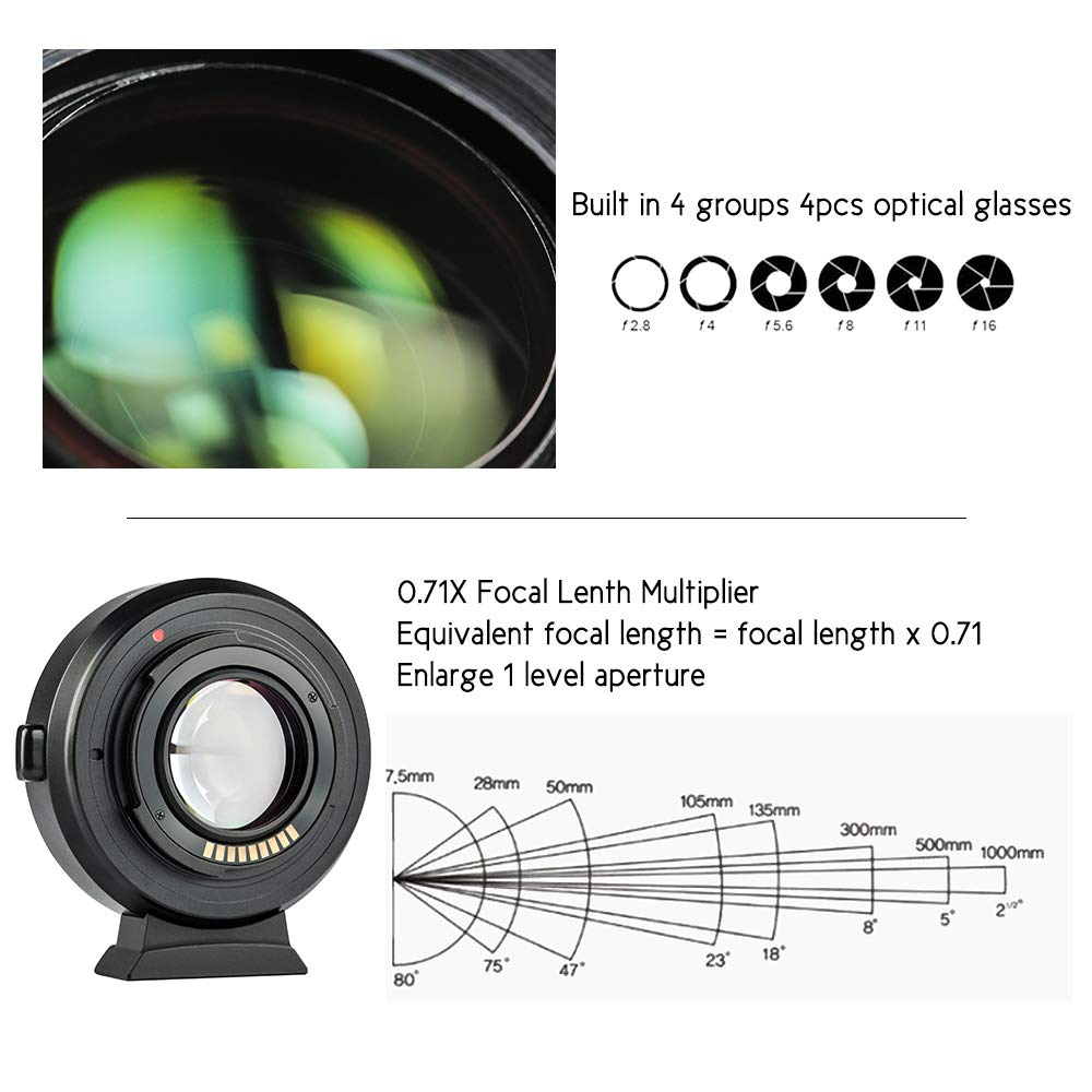 VILTROX EF-EOS M2 Auto Focus Lens Mount Adapter Ring 0.71X Focal Lenth Multiplier USB Upgrade for Canon EF Series Lens to EOS EF-M Mirrorless Camera for Canon EOS M/ M2/ M3/ M5/ M6/ M10/ M50/ M100 by VILTROX (Image #3)