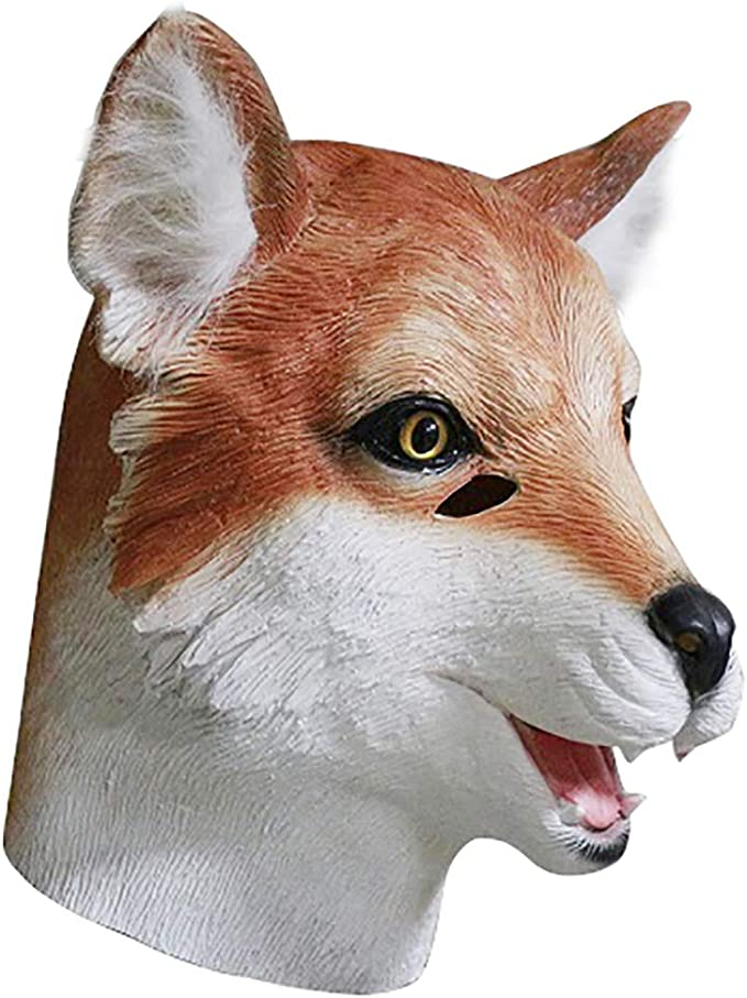 MASCARELLO Realistic Fox Animal Head Latex Mask Party Costume Cosplay Adult Size