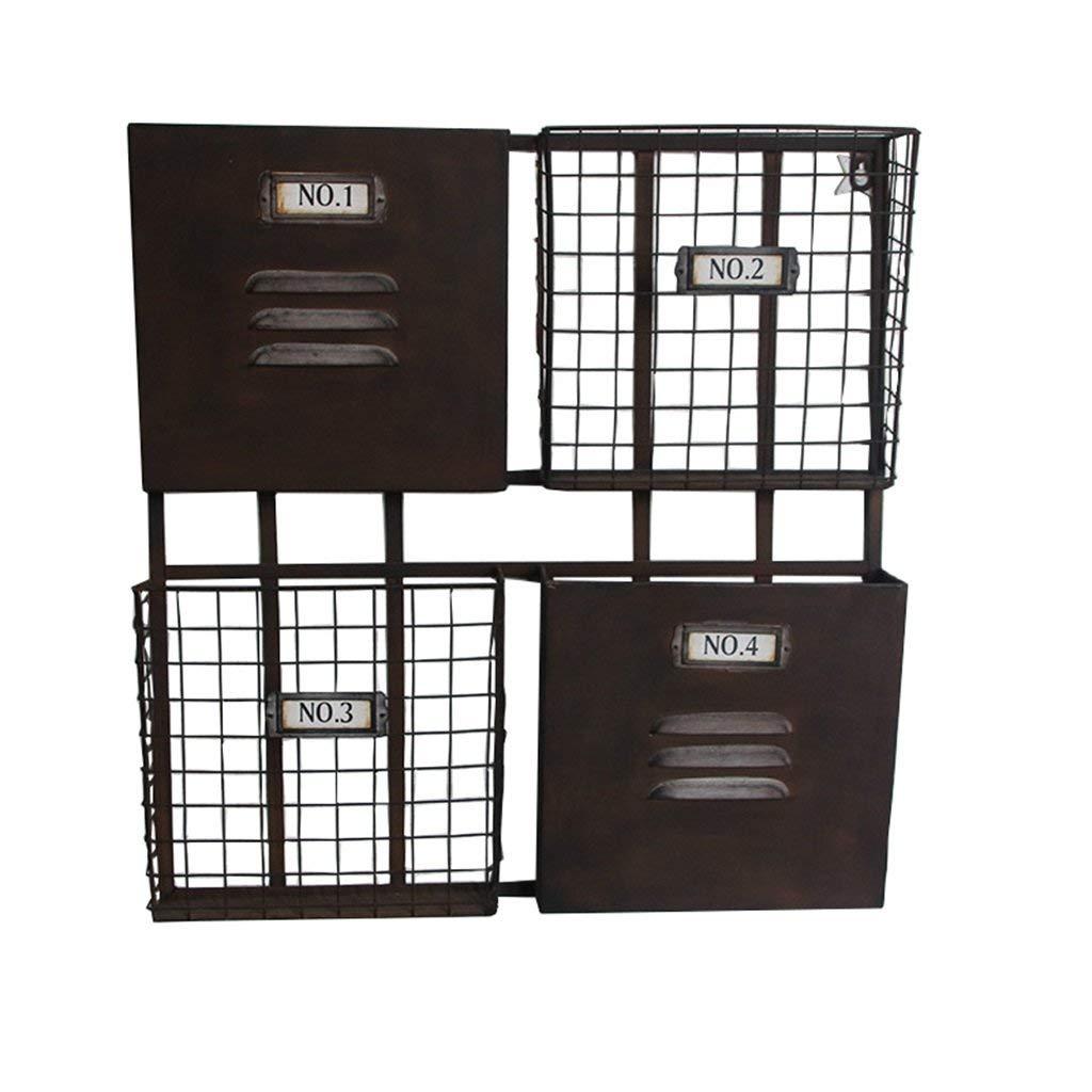 YCT 新聞の棚収納バスケット棚飾りディスプレイフラワースタンド棚としてヴィンテージの壁フレーム (Color : ブラック) B07RTB9TMV ブラック